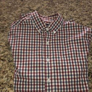 J crew dress shirt size s red and blue check